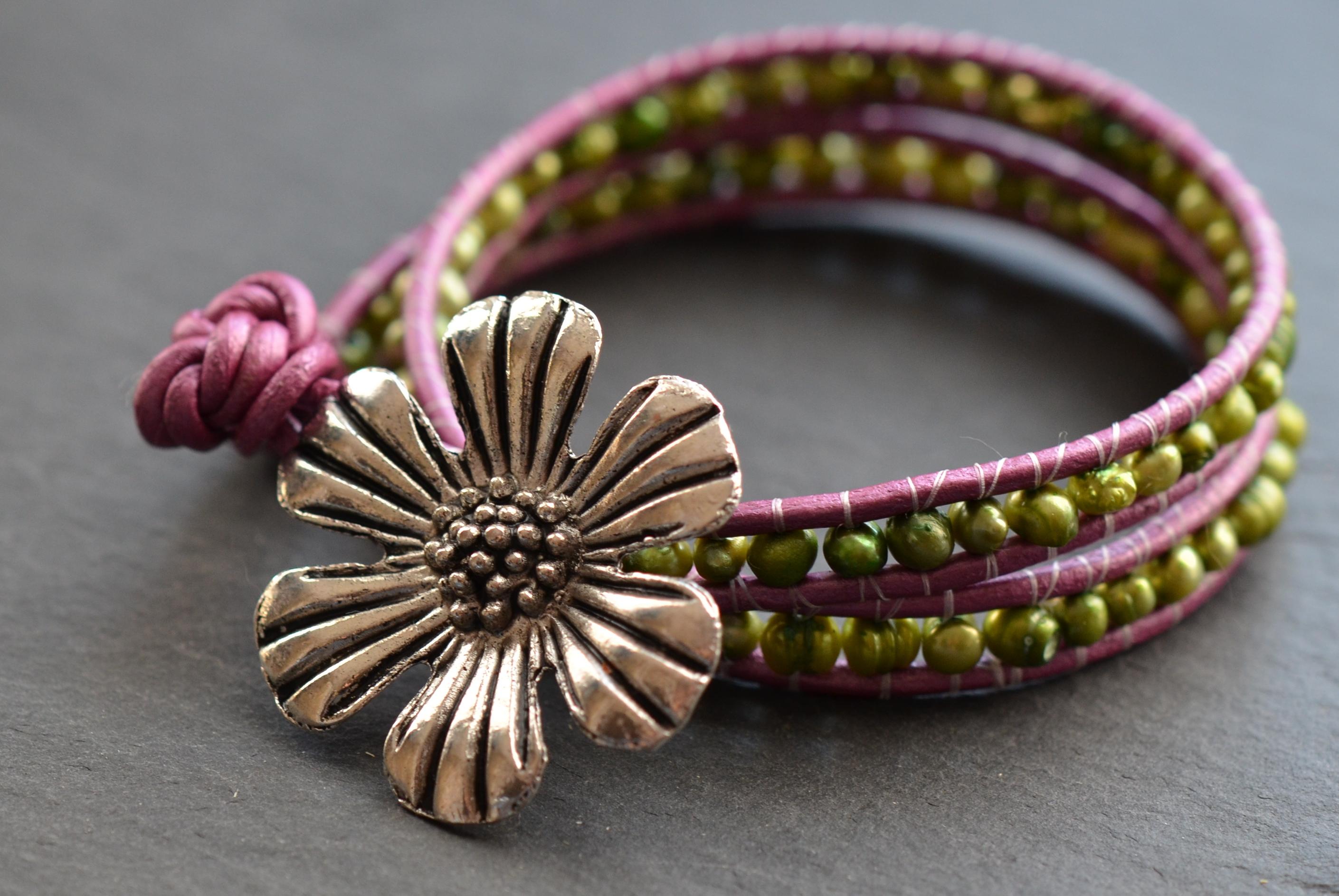 Daisy Beaded Pearl Leather Wrap Bracelet Handmade By Gypsy Green Creations