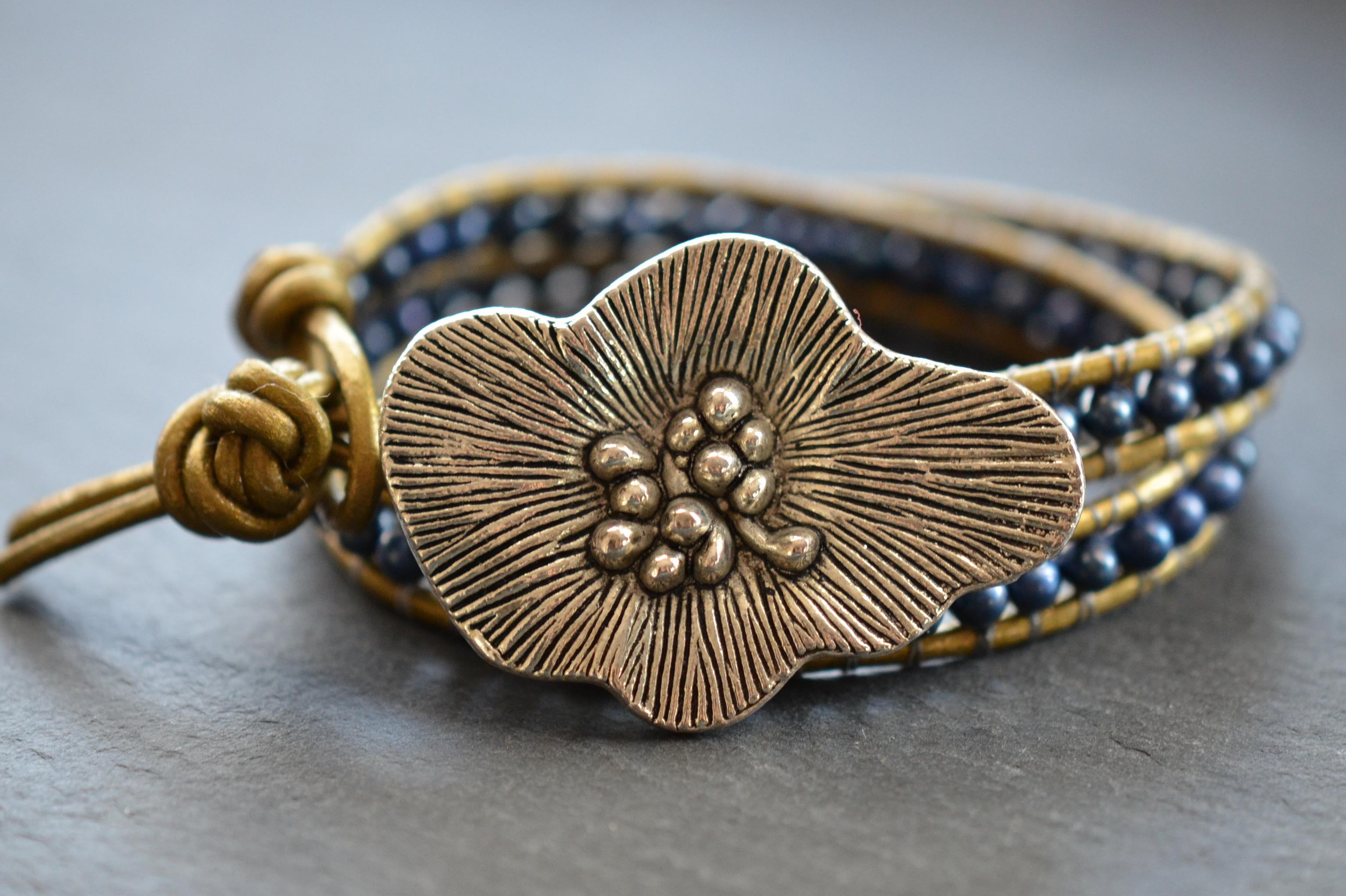 Apple Blossom Beaded Pearl Leather Wrap Bracelet