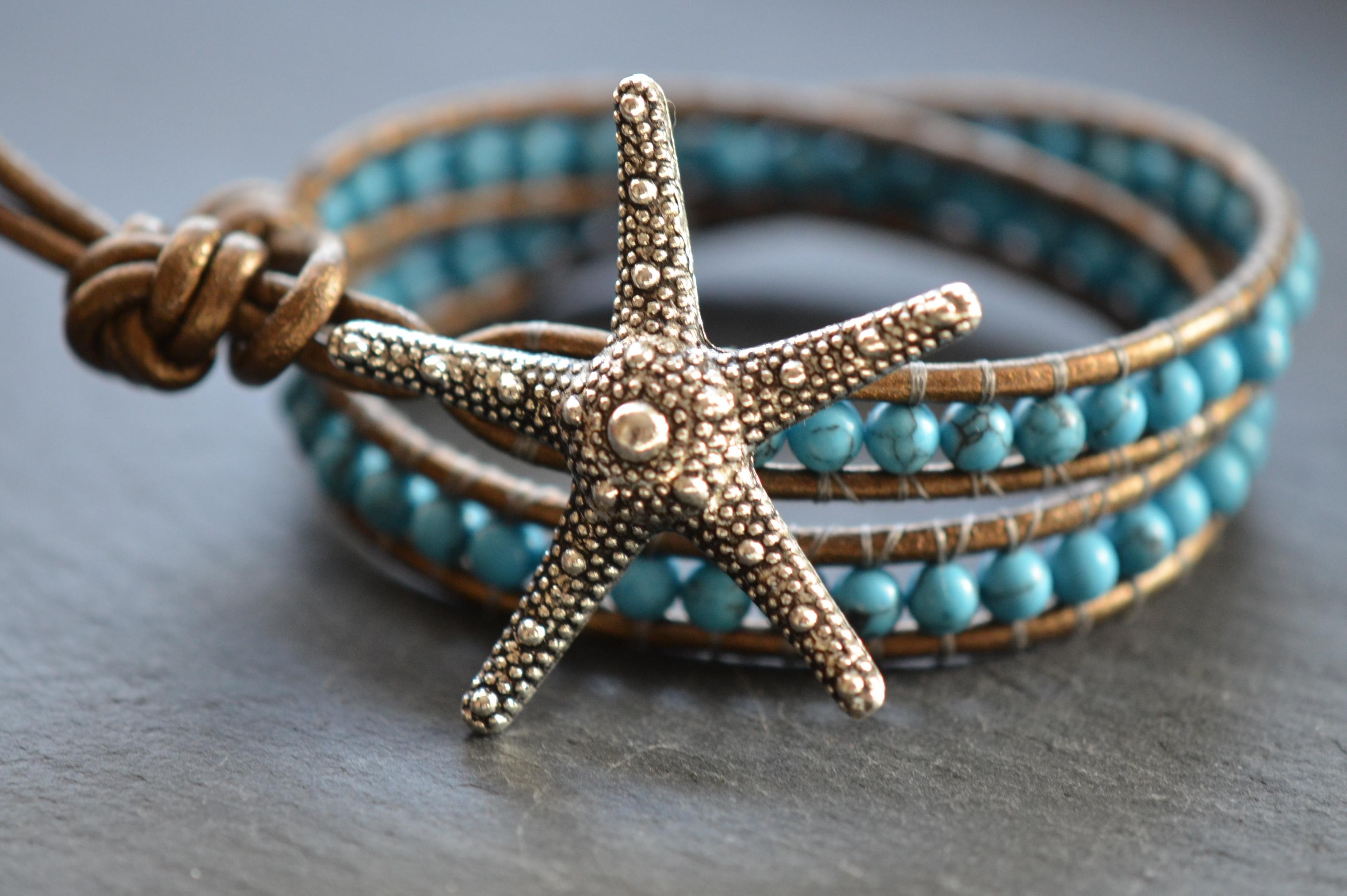 Silver Starfish Beaded Turquoise Leather Wrap Bracelet